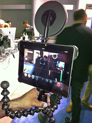 David Basulto with custom iPad camera rig - front