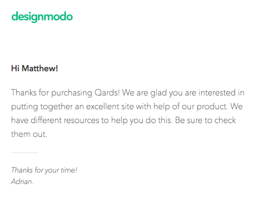Designmodo Welcome Email